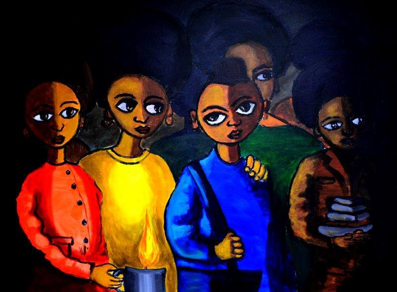 This untitled painting is by Ethiopian artist Yadesa Bojia.